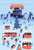 Christmas Fair Poster. Xmas Traditional Bazaar In December Flyer Design. Winter Holiday Festival Gat poster