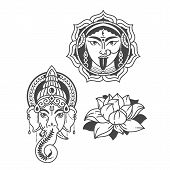 Vector Illustration Of Goddess Durga And Indian God Symbol Elephant Ganesh And Lotus Flower .culture poster