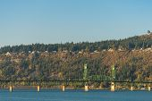 Sunset View Of The Hood River Bridge Over The Columbia River, Near Hood River, Oregon, Usa. poster