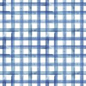 Watercolor Stripe Plaid Seamless Pattern. Blue Color Stripes On White Background. Watercolour Hand D poster
