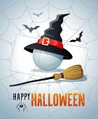 Happy Halloween. Sports Greeting Card. Volleyball Ball With Witches Hat And Broom On The Background  poster