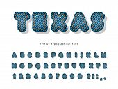 Texas Denim Modern Font. Jeans Texture Decorative Alphabet. Cartoon 3d Abc Letters And Numbers. Vect poster