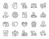 Insurance Line Icons. Health Care, Risk, Help Service. Car Accident, Flood Insurance, Flight Protect poster