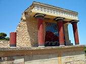 picture of minos  - The great palace of Knossos archaeological site bull fresco at the Bastion A at the North Entrance  - JPG