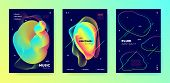 Neon Music Poster. Gradient Lines. Electronic Dance Festival. Multicolor 3d Flow Movement. Trendy Mu t-shirt