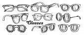 Glasses Fashion Accessory Monochrome Set Vector. Collection In Different Form Glasses. Optical And S poster