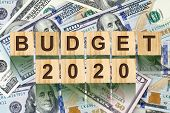 Budget 2020, The Inscription On Wooden Blocks, On The Background Of Dollar Bills. New Year Budget Co poster