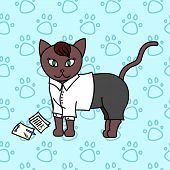 сute Kitty, Business Cat, Baby Vector Illustration, Seamless Background Pattern poster