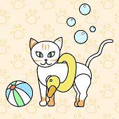 сute Kitty, Summer Bathing Cat, Baby Vector Illustration, Seamless Background Pattern poster