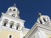 stock photo of deacon  - Beautiful church on a background of the blue sky - JPG
