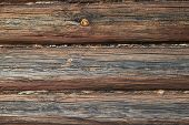 The Surface Of The Wall Or Frame Wooden House Of Logs Brown. Seams Between Logs Are Compacted With T poster