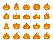 Jack O Lantern Flat Icons Set Web Sign Kit Pumpkin Face Halloween Pictogram Collection Angry Eyes, C poster