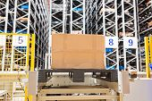 The Warehouse Full Of Goods, Boxes And Shelves In Order. Industrial Background Container Plant Manuf poster
