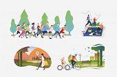 Active People Illustration Collection. People Running Marathon, Hiking, Enjoying Picnic, Riding Bike poster