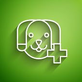 White Line Veterinary Clinic Symbol Icon Isolated On Green Background. Cross With Dog Veterinary Car poster