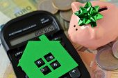 Piggy Bank With Calculator And Paper House On Euro Money Background - Concept Of Saving Money To Buy poster