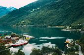 Flam, Norway. Touristic Ship Boat Moored Near Berth In Sognefjord Port. Aerial View In Summer Evenin poster