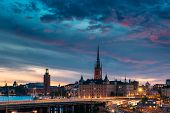 Stockholm, Sweden. Scenic View Of Stockholm Skyline At Summer Evening Night. Famous Popular Destinat poster