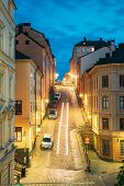 Stockholm, Sweden. Night View Of Traditional Stockholm Street. Residential Area, Cozy Street In Down poster