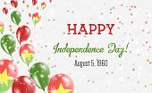 Burkina Faso Independence Day Greeting Card. Flying Balloons In Burkina Faso National Colors. Happy  poster