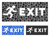 Emergency Exit Composition For Emergency Exit Icon Of Spheric Dots In Variable Sizes And Color Tints poster