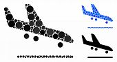 Airplane Arrival Mosaic For Airplane Arrival Icon Of Small Circles In Variable Sizes And Color Tinge poster