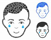 Crying Man Face Mosaic For Crying Man Face Icon Of Round Dots In Various Sizes And Color Hues. Vecto poster