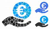 Euro Salary Mosaic For Euro Salary Icon Of Filled Circles In Various Sizes And Color Tints. Vector F poster