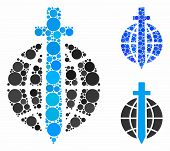 Global Guard Mosaic For Global Guard Icon Of Spheric Dots In Various Sizes And Color Tints. Vector R poster
