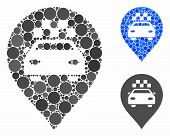 Taxi Car Marker Composition For Taxi Car Marker Icon Of Circle Elements In Various Sizes And Color T poster