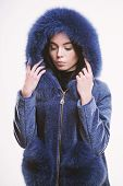 Woman Wear Hood With Fur. Fashion Concept. Girl Elegant Lady Wear Fashionable Coat Jacket With Furry poster