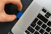 Hand Holding Sd Flash Card Drive And Insert It In The Laptops poster