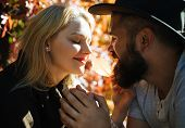 For A Second Before The Kiss. Closeup Portrait Of Romantic Moment Of Young Couple Hipsters In Autumn poster