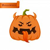 Pumpkin With Horns And Tongue. Pumpkin With Horns And Tongue. poster