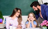 First You Start With Homework. Parents Help Daughter With Homework. Child Do Homework In Class. Happ poster
