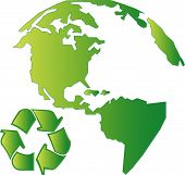 picture of land-mass  - north america land mass with recycle symbol  - JPG