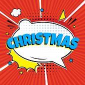 Comic Lettering Christmas In The Speech Bubbles Comic Style Flat Design. Dynamic Pop Art Vector Illu poster