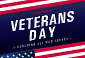 Veterans Day, November 11. Honoring All Who Served. Usa Flag With Text, Patriotic Blue Background. V poster