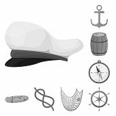 Isolated Object Of Nautical And Voyage Symbol. Set Of Nautical And Seafaring Vector Icon For Stock. poster