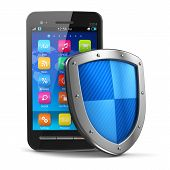 picture of antivirus  - Mobile security and antivirus protection concept - JPG