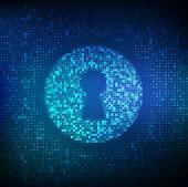 Digital Keyhole. Concept Of Cyber Security, Firewall, Network Security, Data Encryption. Digital Bin poster