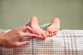 Tickling Feet Background. Touching Childs Feet With Fingers. Massage Of Feet, Legs. Heels And Toes O poster
