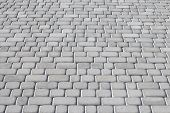 Pavement Road Of Gray Cobblestone. Urban Paved Walkway. Rock Background. Natural Backgrounds. Grey S poster