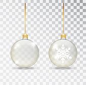 Christmas Transparent Glass Ball. Xmas Glass Bauble On Transparent Background. Holiday Decoration Te poster