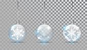 Glass Christmas Balls Set With Snowflake Pattern On A Transparent Background. New Year Bauble For De poster