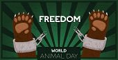 World Animal Day Illustration For Help And Freedom. Wild Bear Paws Cartoon With Broken Zoo Captivity poster