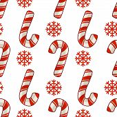 Christmas Seamless Pattern With Candy Cane Or Sweet Lollipop And Snowflakes, Red Colors, Endless Tex poster