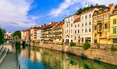 Romantic beautiful Ljubljana city, capital of Slovenia. Urban scenery with canals poster