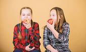 Healthy Dieting And Vitamin Nutrition. Girls Friends Eat Apple Snack While Relaxing. School Snack Co poster