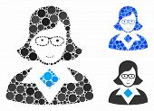 Teacher Lady Mosaic Of Small Circles In Different Sizes And Color Hues, Based On Teacher Lady Icon.  poster